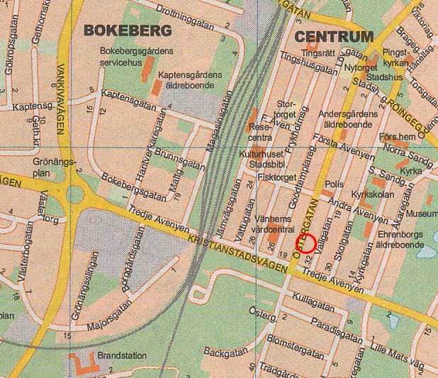 Map of central Hassleholm